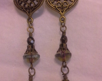 Antique Gold Brass Drop Earrings = E 116
