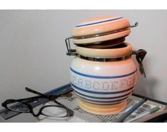Vintage Jar, Ceramic Jar, Cookie Jar, Coffee Jar, Alphabet Jar, Embroidery Letters Jar, Cute Jar, Teachers Gift,Fancy Jar