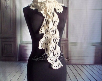 Vintage Style Crochet Lacey Lariat  Scarf Ivory