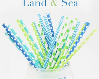 25 Multipack paper straws,Blue,Green paper straws,5 Designs,party  paper straws.wedding paper straws