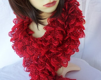 Hand Knitted Red Frilly Scarf - Free Shipping