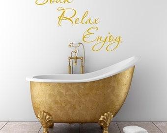 Bathroom Decal Soak Relax Enjoy Wall Sticker En Suite Shower