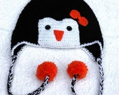 Penguin Crochet Hat with Ear Flaps, Plaits and PomPoms! - All Sizes: Baby, Child & Adult