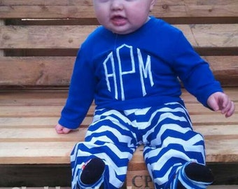 boys or girls monogram outfit.