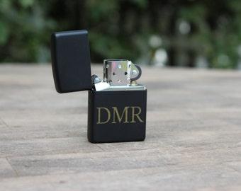 Personalized Laser Engraved Black Matte Zippo Lighter- groomsmen gift- Wedding gift -valentines gift