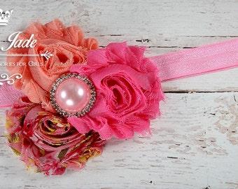 Coral Pink Baby Girl Headband, Little Girl Headband, Shabby Flower Headband, Girls Vintage Headband, Newborn Headbands, Infant Headband
