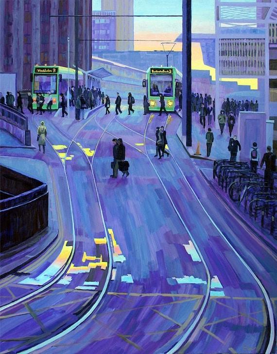 "Heading Home, print, 10X12"", Croydon Trams"