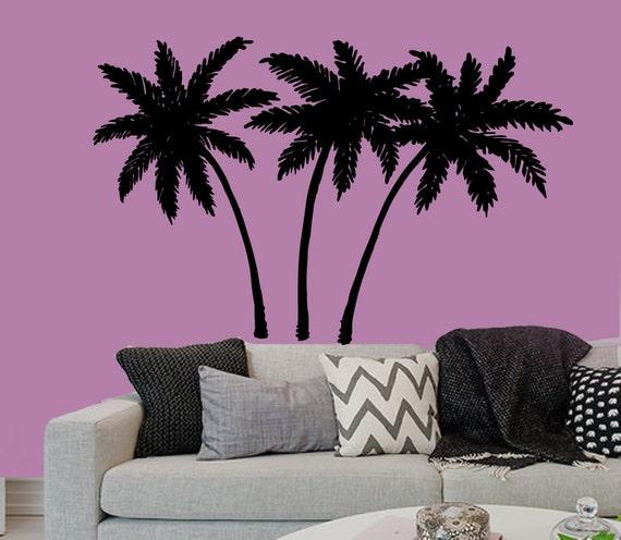 Beach Wall Decor Stickers : Palm wall decals beach palms tree stickers by decalmyhappy