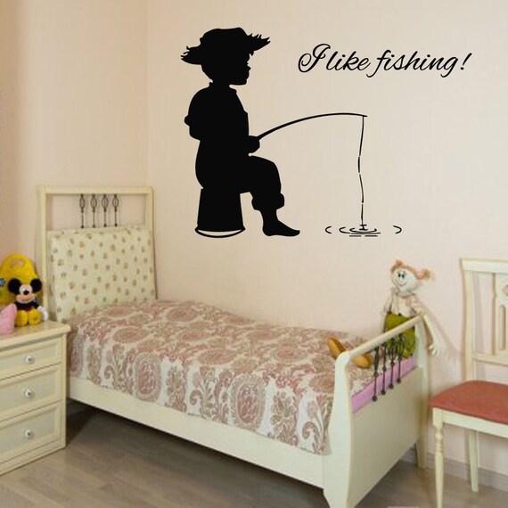 Wall Decals Boy Fisherman Words I Like Fishing By Decalmyhappyshop