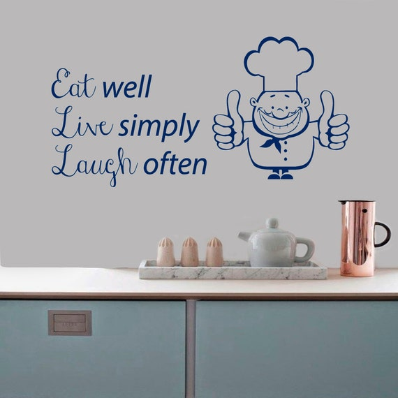 Eat Kitchen Decor Wall Decal : Wall decals quote eat well live simply laugh by
