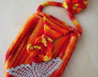 Bohemian HandBag, Teen Bag, Red Yellow Bag, Spring bag, Valentines gift, Purse Kids, Girlfriend gifts, Wool Bag, Teen gift, Winter gift