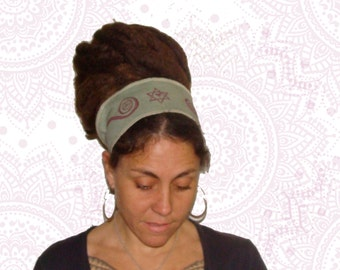 Organic Cotton and Hemp head/ dread band - handmade dyed and printed - Reversible -