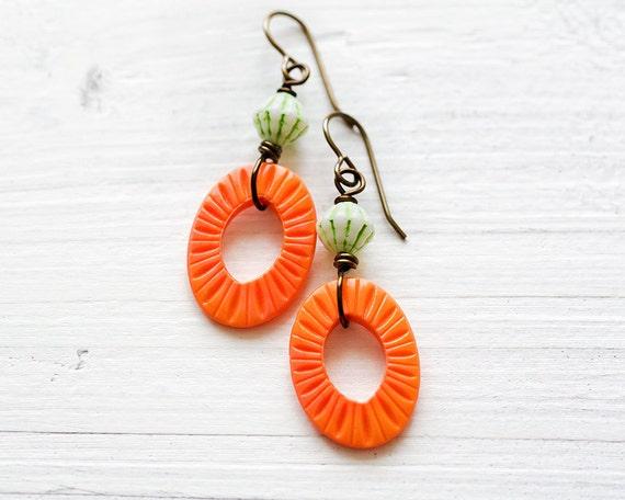 Handmade Orange and Green Earrings, Orange Earrings, Vintaj Brass Earrings