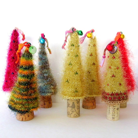Fuzzy Sparkly Knit Christmas Tree Ornament with Wine Cork Base - Your Choice of One Tree Ornament