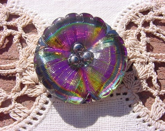 Cherry Lime Golden Pansy Czech Glass Button