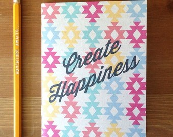 Create Happiness Aztec notebook, stapled, journal pencils, boss gifts, cool stocking gift, aztec sketchbook, yankee swap, bullet journal