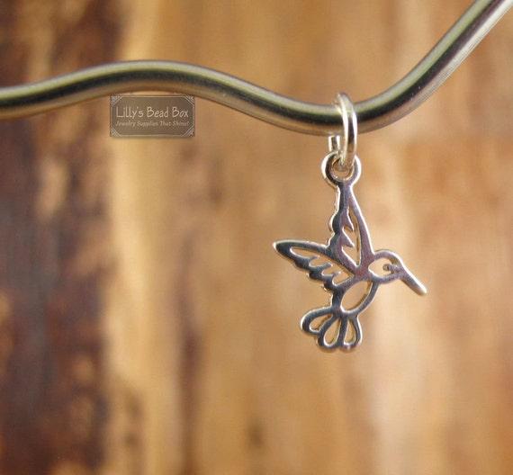 Tiny Hummingbird Charm, Sterling Silver Bird Charm, Baby Bird Pendant, Charms for Making Jewlery (Ch 968)