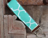 Key Chain-Key Fob- Wristlet -Teal Lattice on Gray-READY TO SHIP