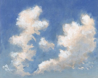 Cloud Painting - Original Painting on Canvas Green and Yellow Hill Clouds and Blue Sky 8x8 200