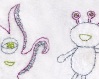 Alien Hand Embroidery Pattern, Friendly, Monsters, Creatures, PDF