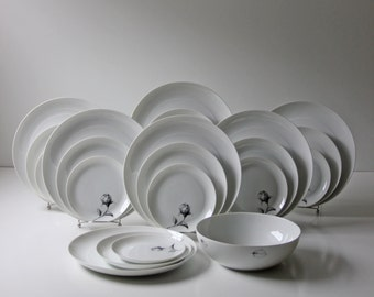 modernist white porcelain dinner setting complete set 22 pc service for 7 excellent cond