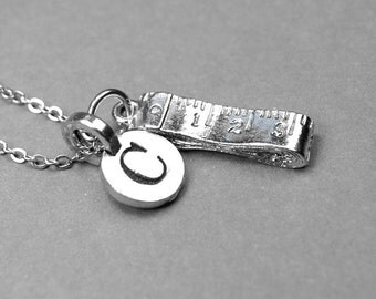 Tape Measure Necklace, measuring tape charm, silver plated pewter, initial necklace, initial hand stamped, personalized, monogram
