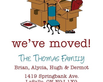Moving annoucement, unpacked boxes, toys, pizza, wine, new home, personalized, digital download, printable,