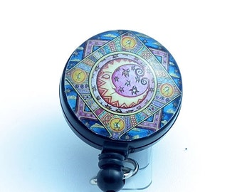 Moon and Stars on Quilt Like Background Black Retractable Badge Reel-Belt Loop/Slider or Swivel Clip