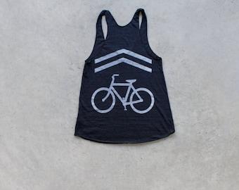 Bicycle tank top for women. Workout tank top tshirt. Women's graphic tee. Bike lane screenprint by Blackbird Tees - CLOSEOUT
