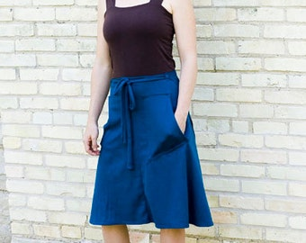 Organic Cotton & Hemp Pocket Wrap Skirt - Mid Length Skirt with Pockets - Adjustable Wrap Skirt - Made to Order in the USA by Yana Dee