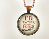 Downton Abbey : Glass Dome Necklace by HomeStudio. Round art photo pendant jewelry. or Key Ring Keychain Gift Present