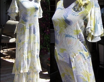 Vintage 1920s 1930s Dress Sheer Summer Pastel Chiffon Layers Etheral Ruffles - Vintage Small to Medium