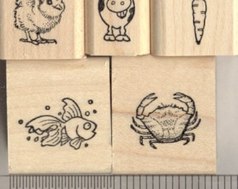 5 Tiny Rubber Stamps for Menu/Place Card Marking: includes Carrot, Chick, Fish, Cow, and Crab (5TinyMenu) Wood Mounted - Great for Weddings!