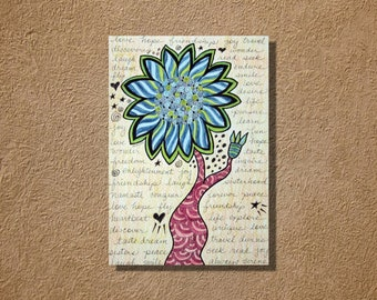 Funky Blue Flower with Inspiration Words Art Pencil and Ink Drawing 9.75 x 7
