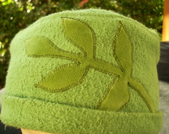 SALE--SMALL Green Hemp Roll Up Hat with Velour Leaf Applique, hand dyed
