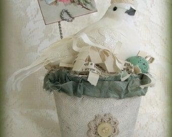 Handmade  Bird Flower Pot Vintage Peat Pot  Handmade Spring Decoration Altered Peat Pot Vintage Bird Decoration Shabby White Dove