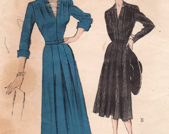 1950s Butterick 5489 Vintage Sewing Pattern Misses Dress Size 18 Bust 36