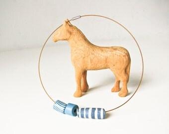 Summer Necklace Choker, Glass Beads, Blue Bead Necklace