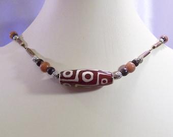DZI Bead Necklace Heavens Eye Necklace Ancient Tibetan Style