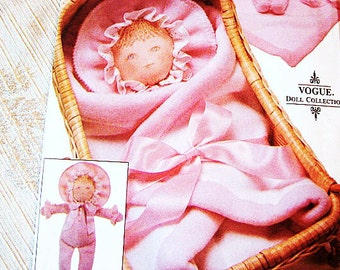 Toddler Cloth Baby Doll Pattern with Blanket UNCUT Vogue Pattern Stuffed Doll, Cloth Doll, Rag Doll with Blanket Sewing Doll Pattern