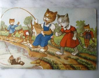 Vintage. Dressed Cats. Very old Dutch Postcard.Fun Fishing 1950 Era