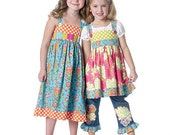 GIRLS SUNDRESS Sewing Pattern - Chelsea Andersen Dress Peasant Top Belt & Jeans Ruffle