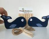 Whale Art Display Clips, Nautical Nursery, Nautical Kids Decor, navy blue, eco-friendly