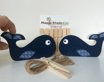 Whale Art Display Clips, Nautical Nursery, Nautical Kids Decor, navy blue, eco-friendly
