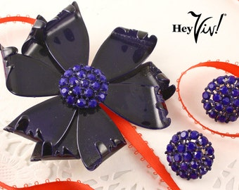 Chunky Flower Brooch & Clip On Earring Set -  Cobalt Blue Enamel w/ Rhinestones - Vintage 50s Demi Parure in