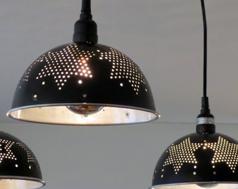 Black Star colander pendant lights - with plug-in or install options