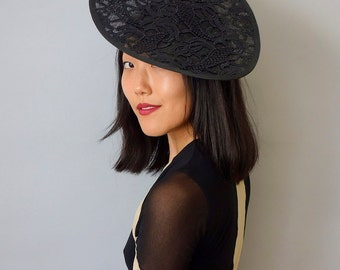 On SALE Rhombus Tilt Fascinator Cocktail Hat in Black Guipure Lace on Sinamay Straw