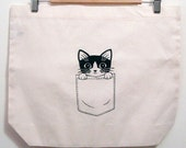Pocket Kitty Tote Bag Poly-Cotton