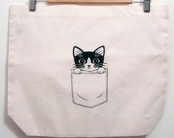 Pocket Kitty Tote Bag Poly-Cotton
