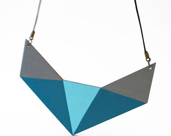 Geometric wooden polygon necklace - grey, light blue, grey blue - minimalist, modern jewelry, geometric fox shape
